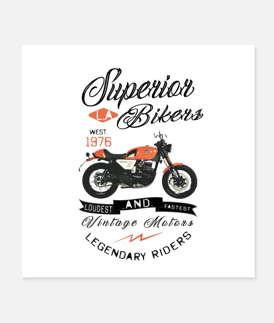 Pilot Posters - Motorcycle t-shirt Superior LA Bikers vintage riders - Posters white