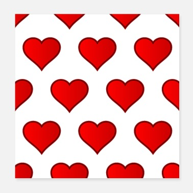 Love Heart Red Love Heart Repeating - Poster