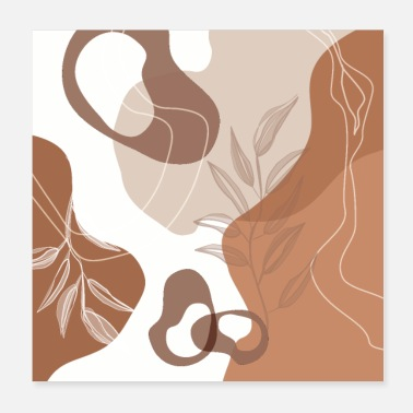 Tanning Abstract - Terracotta, Tan and Beige Shapes, - Poster