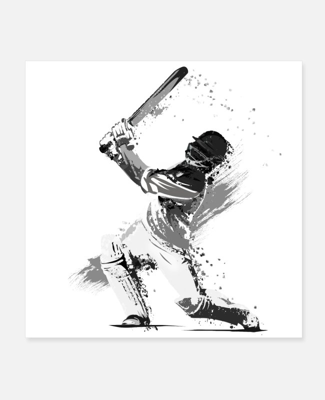 Competition Posters - Cricket player - Posters white