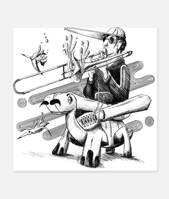 Tortuga Posters - Crazy Trombone Turtle Illustration - Musiclovers - Posters white