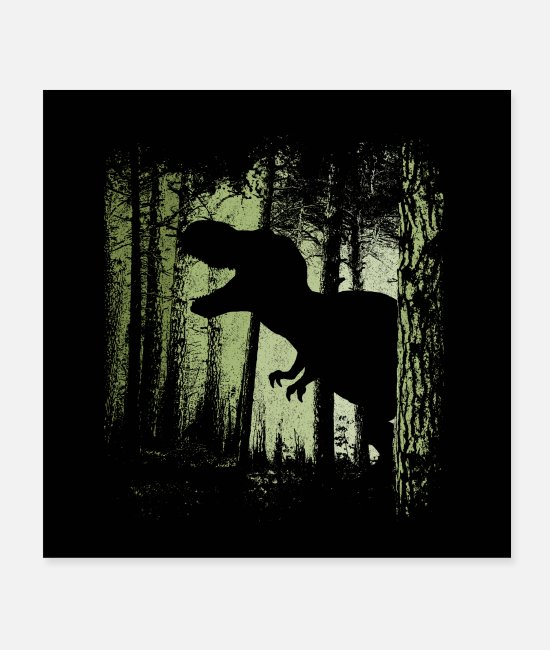 Tyranno Posters - T-Rex in the Forest Dinosaur Dino Fan-Art - Posters white