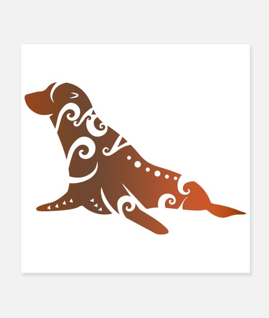 Animal Welfare Posters - New Zealand fur seal Maori Tribal Tattoo Gift - Posters white