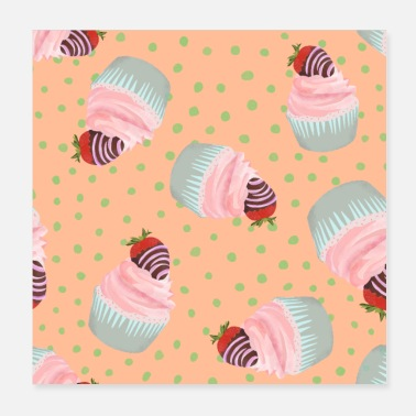 Cupcake cupcakes with strawberry - Poster