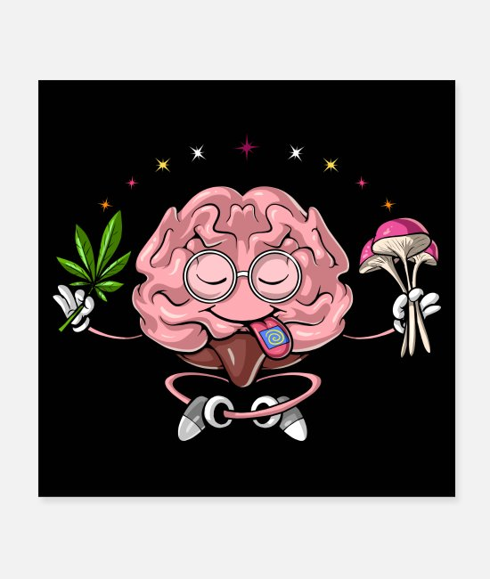 Festival Posters - Psychedelic Brain Stoner - Posters white