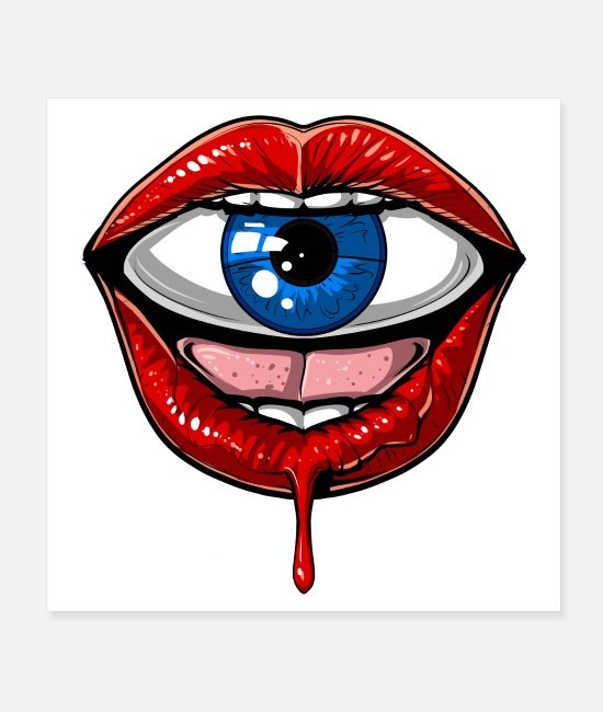 Trippy Posters - Psychedelic Lips Trippy Eye - Posters white