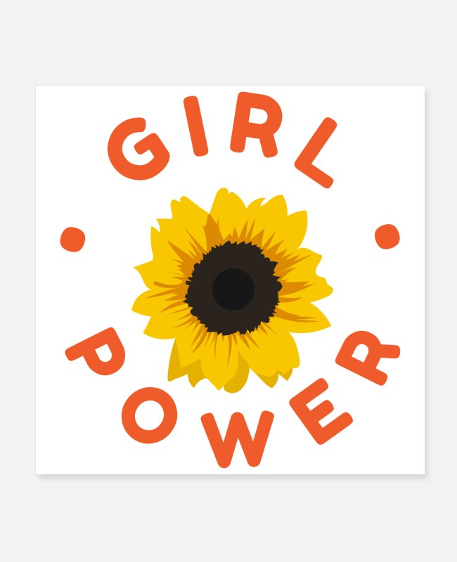 Gift Posters - Flower Girl Power Zonnebloem Grappig cadeau-idee - Posters wit