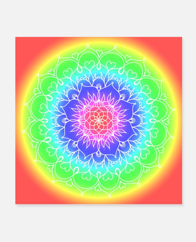 Bless You Posters - Poster with mandala rainbow colorful circles yoga - Posters white