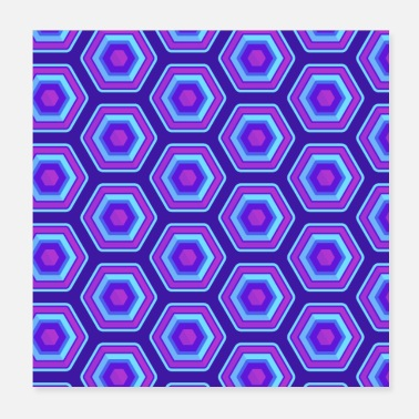 Uv Check pattern pink pink blue checkered neon - Poster