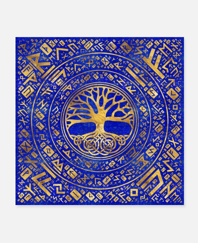 Celtic Posters - Tree of life -Yggdrasil Runic Pattern - Posters white