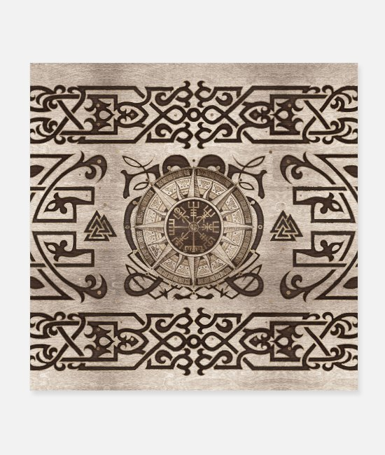 Celtic Posters - Vegvisir - Viking Compass Ornament - Posters white