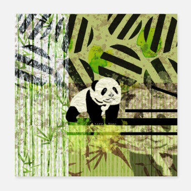 Panda Cub Panda Cub Abstract mixed media - Poster