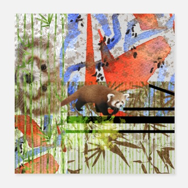 Panda Cub Red Panda Abstract mixed media art collage - Poster