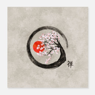 Shodo Zen Enso Circle and Sakura Tree on Canvas - Poster