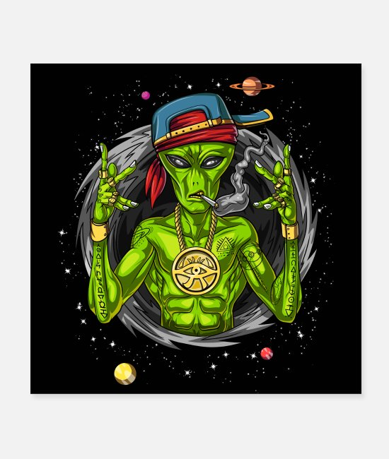 Space Posters - Alien Gangsta - Posters white