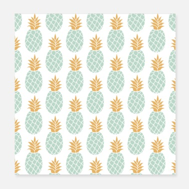 Green Pastel gold mint green pineapple - Poster