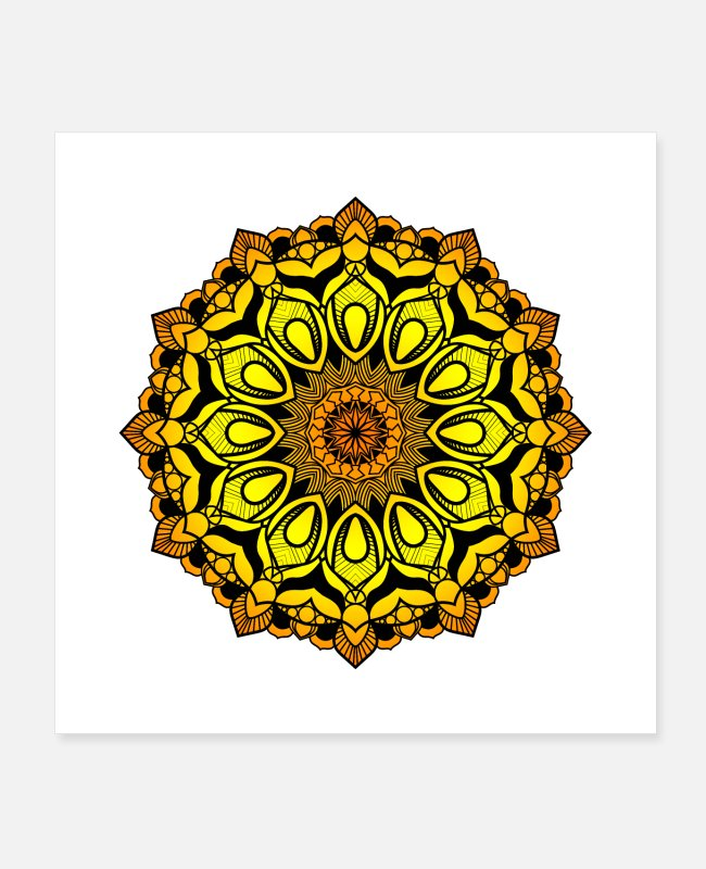 Hippy Posters - Mandala gold - Posters white