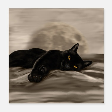 Moon Black Cat chilling - Poster