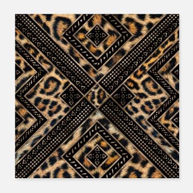 Fur Leopard Fur with Ethnic Ornament - Poster