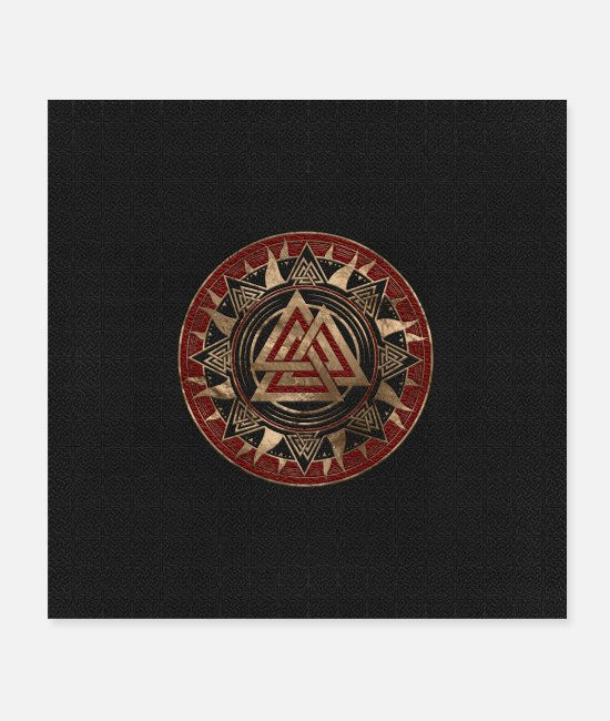 Red Posters - Valknut Symbol - Posters white