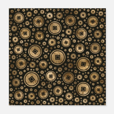 Asian Chinese coins pattern - Poster