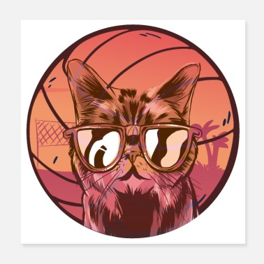 Beachvolleyball Volleyball Beachball Katze - Poster
