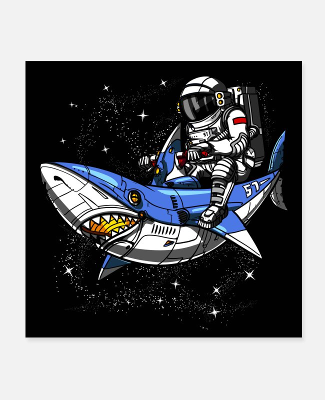 Space Posters - Space Astronaut Riding Shark - Posters wit