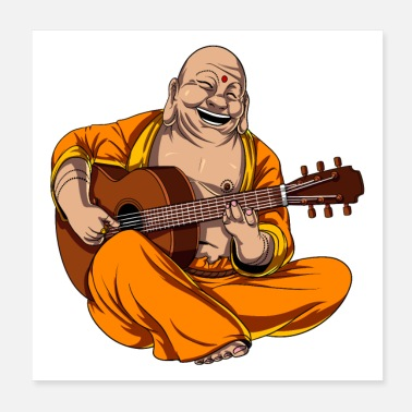 Guitar Player Buddha Playing Guitar - Poster