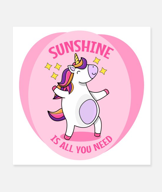 Grin Posters - Unicorn - sunshine - Posters white