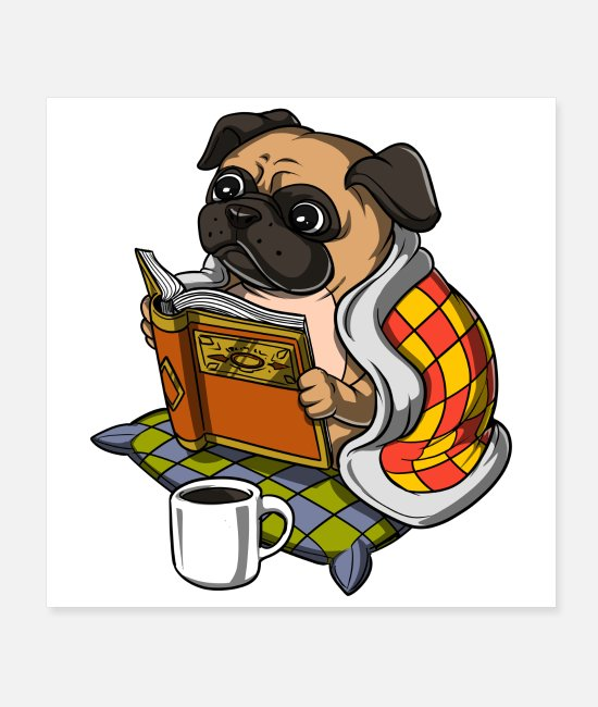 Girls Pug Posters - Pug Dog Reading A Book - Posters white
