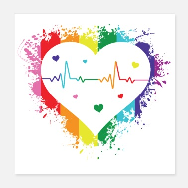 Gay Love Heartbeat Colorful Rainbow - Poster