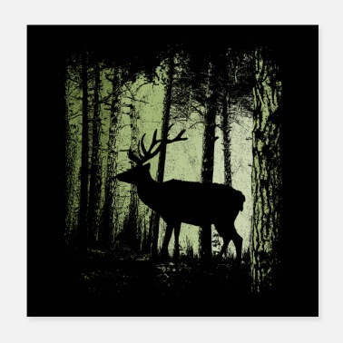 Dusk forest fallow deer stag shadow - Poster