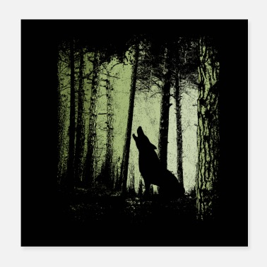twilight forest howling wolf silhouette - Poster