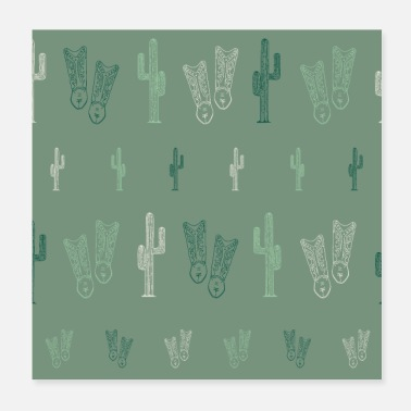 Cowboy Boots Western Style Elements Cowboy boots | cactus - Poster