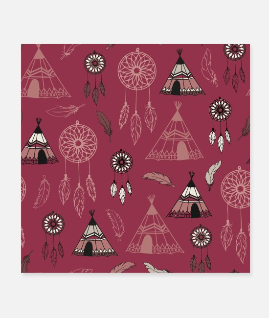 Pattern Posters - Indian tent and dream catcher | Indians - Posters white