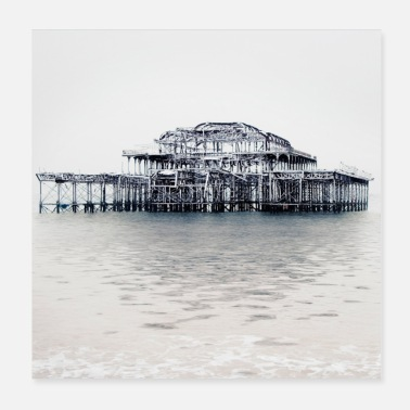 East Sussex Brighton's West Pier (in inverno). - Poster