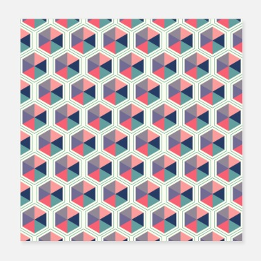 Funky Pastel Shades Hexagon Geometric Pattern - Poster