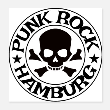 Rock N Roll Punk Rock Hamburg Skull - Poster