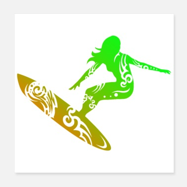 Hawaï Idée de cadeau Surf Girl Tribal Tattoo Surf Lover - Poster