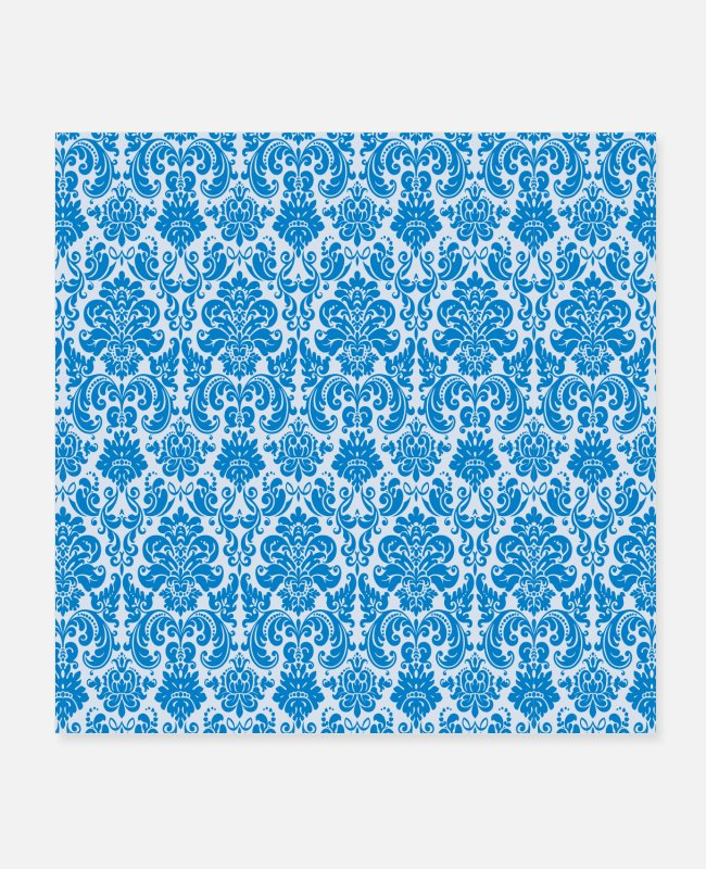 Sky Blue Posters - Blue Vintage Decorative Pattern - Posters white