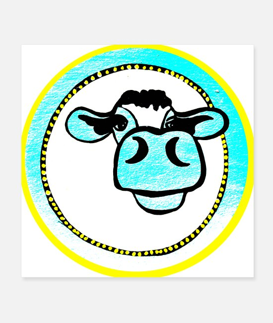 Muh Posters - Cow white - turquoise cow head beef animal cattle love for animals - Posters white