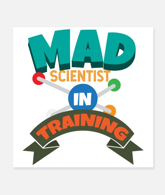 Training Posters - Kids Mad Scientist in training gift idea - Posters white