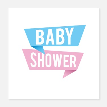 Greeting Modern design baby shower text on speech bubbles - Poster