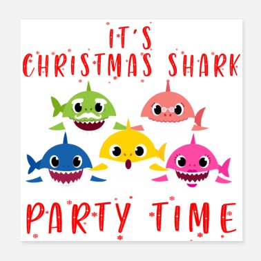Match Christmas Shark Party time Family Shark Matching - Poster