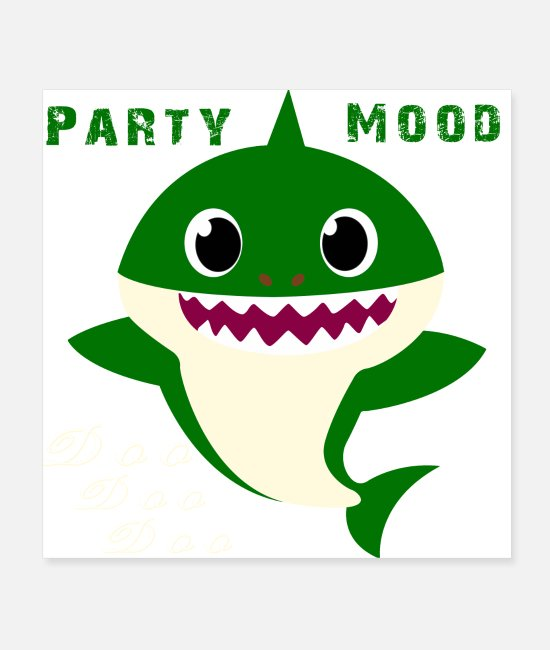 Baby Shark Characters Posters - Uncle Shark Party Mood For Birthday Christmas - Posters white