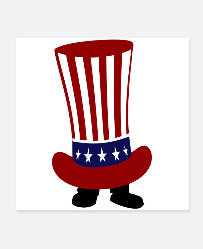 Cartoon Character Posters - Feet Hidden in USA FLAG - Posters white