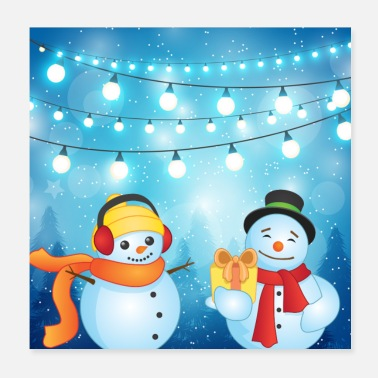 Christmas Present Snowman at Christmas Time with presents and music - Poster