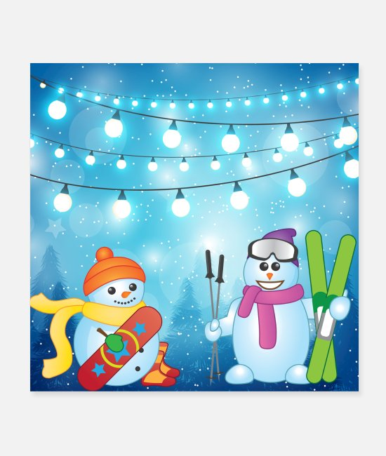 Christmas Posters - Snowman Scene Skiing og Snowboarding - Posters hvid