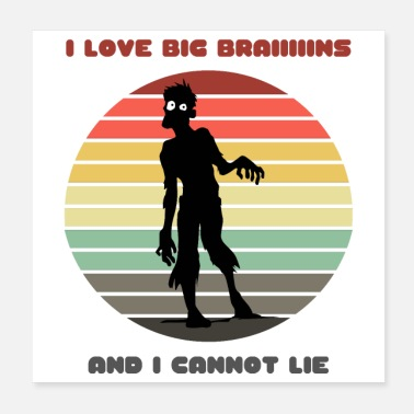 I Love Retro Sunset Zombie / I Love Big Braiiiiins and I - Poster