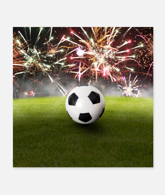 Stadium Posters - Football in the stadium in front of colorful fireworks - Posters white